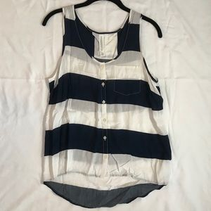 Striped Button-up Tank with Pocket